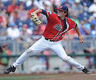 Mississippi's Christian Trent (47) pitches against Texas Tech at T.D. Ameritrade Park in the College World Series in Omaha, Neb. on Tuesday, June 17, 2014. Ole Miss won 2-1.