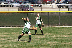 05 April 2008: Monica Urban hustles to pull in a fly ball. The Carthage College Lady Reds lost the first game of this double header to the Titans of Illinois Wesleyan 4-1 at Illinois Wesleyan in Bloomington, IL