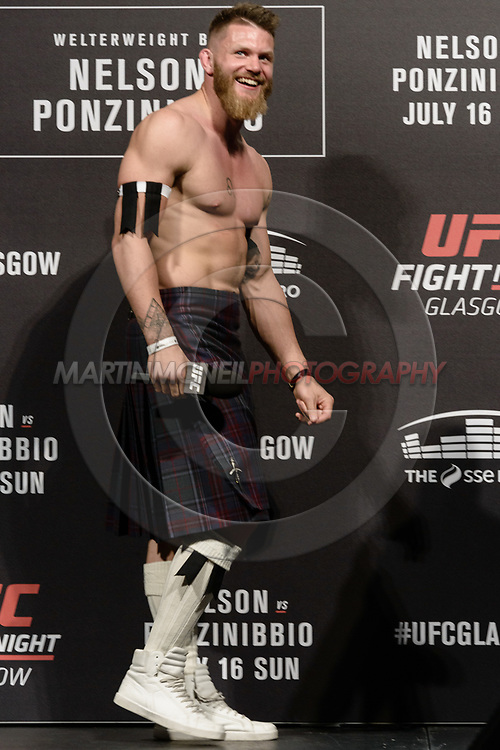 "GLASGOW, UNITED KINGDOM, JULY 15, 2017: Mixed martial arts welterweight division athlete Emil Meek is pictured on stage during a fan Q&A session ahead of ""UFC Fight Night Glasgow: Nelson vs. Ponzinibbio"" inside the SSE Hydro Arena in Glasgow"