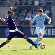NEW YORK, NEW YORK - May 29:  David Villa #7 of New York City FC is challenged by Sebastian Hines #3 of Orlando City FC during the New York City FC Vs Orlando City, MSL regular season football match at Yankee Stadium, The Bronx, May 29, 2016 in New York City. (Photo by Tim Clayton/Corbis via Getty Images)