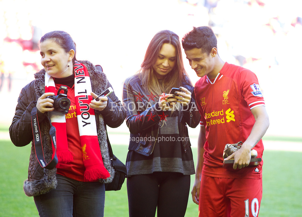 LIVERPOOL, ENGLAND - Sunday, May 19, 2013: Liverpool's Philippe Coutinho Correia and his wife after the final Premiership match of the 2012/13 season against Queens Park Rangers at Anfield. (Pic by David Rawcliffe/Propaganda)