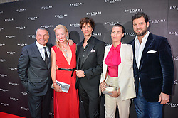 Left to right, Bulgari CEO JEAN CHRISTOPHE BABIN, PRINCESS LILLY ZU SAYN WITTGENSTEIN BERLEBURG, DAVID JARRE, PRINCE CASIMIR ZU SAYN WITTGENSTEIN  and ALANAH BUNTE at the launch of the new Bulgari flagship store at 168 New Bond Street, London on 14th April 2016.