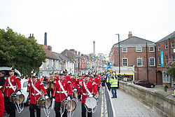 A band marches to the start line of the Tour de Yorkshire - a 122.5 km road race, between Tadcaster and Harrogate on April 29, 2017, in Yorkshire, United Kingdom.