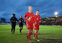 NEWPORT, WALES - Thursday, April 4, 2019: Wales' Sophie Ingle and Hayley Ladd walk back to the dressing room at half-time during an International Friendly match between Wales and Czech Republic at Rodney Parade. (Pic by David Rawcliffe/Propaganda)