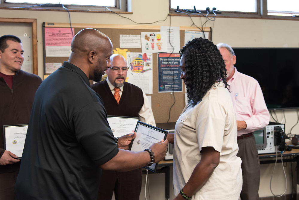 June Awardee Willa Johnson at Cable Car Division Systemwide Operator of the Month | July 28, 2017