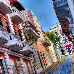 A narrow street looking uphill in Old San Juan, Puerto Rico.