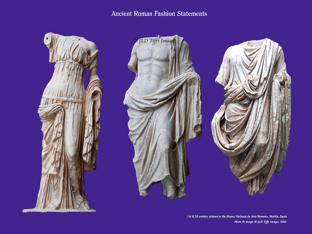 "Elegantly draped marble torsos in the Museo Nacional de Arte Roman, Merida, three different ones laid on a plain blue background as ""Ancient Roman Fashion Statements."""