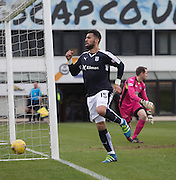 Dundee&rsquo;s Kane Hemmings celebrates after opening the scoring - Partick Thistle v Dundee, Ladbrokes Premiership at Firhill<br /> <br /> <br />  - &copy; David Young - www.davidyoungphoto.co.uk - email: davidyoungphoto@gmail.com