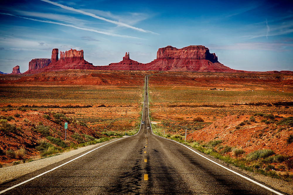 Mile marker 13 on U.S. Route 163 in Utah, looking south towards Monument Valley. Also known in the movie as the exact spot where Forrest Gump finally decides to stop running.