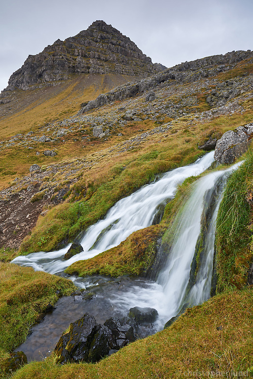 Stream falling down the hills of Arnarfjörður, West fiords of Iceland.