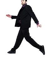 strange man on studio isolated white background jumping running