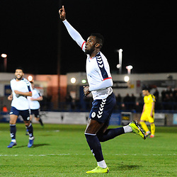 TELFORD COPYRIGHT MIKE SHERIDAN 5/3/2019 - GOAL. Amari Morgan Smith of AFC Telford scores to make it 2-0 during the National League North fixture between AFC Telford United and Darlington at the New Bucks Head Stadium