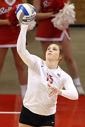 07 November 2014:  Ashley Rosch serves the ball during an NCAA womens volleyball match between the Loyola Ramblers and the Illinois State Redbirds at Redbird Arena in Normal IL