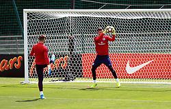 England's Jack Butland and Fraser Forster during the training session at Stade Omnisport.