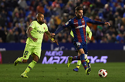 January 10, 2019 - Valencia, Valencia, Spain - Ruben Rochina of Levante UD and Arturo Vidal of FC Barcelona during the Spanish Copa del Rey match between Levante and Barcelona at Ciutat de Valencia Stadium on Jenuary 10, 2019 in Valencia, Spain. (Credit Image: © Maria Jose Segovia/NurPhoto via ZUMA Press)