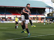 30th September 2017, Dens Park, Dundee, Scotland; Scottish Premier League football, Dundee versus Hearts; Dundee's Kerr Waddell celebrates after scoring with Kevin Holt