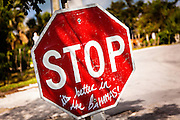 Only stop sign on Green Turtle Cay, Bahamas.