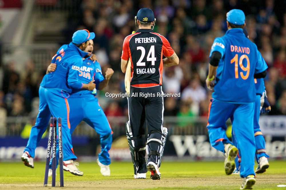 31.08.2011 Natwest International T20 England v India from Old Trafford. India celebrate and Pietersen walks.