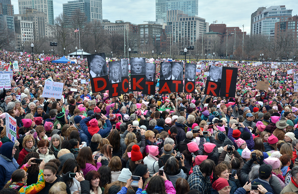 (BOSTON, MA 012117) People fill the Common before the Women's March For America. Staff photo Chris Christo