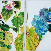 Sumi-ink and watercolor on rice paper, <br />