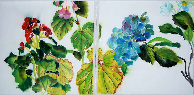 Sumi-ink and watercolor on rice paper, <br /> Diptych, 13.5 x 27&quot;, Collected