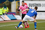 Carlisle United Defender Danny Grainger stopping the run during the Sky Bet League 2 match between Carlisle United and Northampton Town at Brunton Park, Carlisle, England on 5 March 2016. Photo by Craig McAllister.