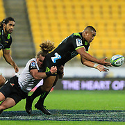 Julian Savea passes during the Super Rugby union game between Hurricanes and Sunwolves, played at Westpac Stadium, Wellington, New Zealand on 27 April 2018.   Hurricanes won 43-15.