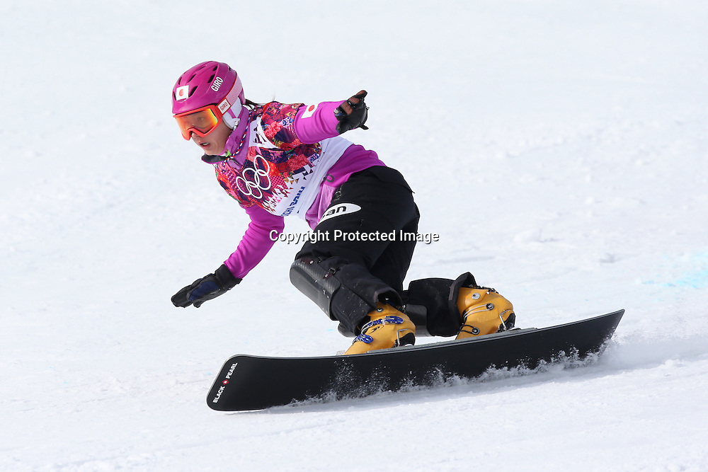 """Tomoka Takeuchi (JPN), <br /> FEBRUARY 19, 2014 - Snowboarding : <br /> Women's Parallel Giant Slalom 1/8 Final at """"ROSA KHUTOR"""" Extreme Park during the Sochi 2014 Olympic Winter Games in Sochi, Russia.<br /> (Photo by Koji Aoki/AFLO SPORT)"""