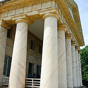Arlington House, also known as the Robert E. Lee House, on the hill overlooking Arlington Cemetery toward Washington DC