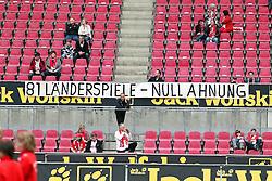 """14.05.2010,  Rhein Energie Stadion, Koeln, GER, 1.FBL, FC Koeln vs Schalke 04, 34. Spieltag, im Bild:  Plakat mit der Aufschrift """"81 Laenderspiele - Null Ahnung"""" als Kritik an Wolfgang Overath  EXPA Pictures © 2011, PhotoCredit: EXPA/ nph/  Mueller       ****** out of GER / SWE / CRO  / BEL ******"""