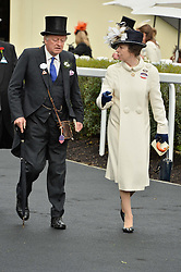 HRH The PRINCESS ROYAL and BRIGADIER ANDREW PARKER BOWLES at day one of the Royal Ascot 2016 Racing Festival at Ascot Racecourse, Berkshire on 14th June 2016.