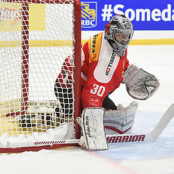 WHITBY, - Dec 15, 2015 -  WJAC Game 6- Team Russia vs Team Switzerland at the 2015 World Junior A Challenge at the Iroquois Park Recreation Complex, ON. Matteo Ritz #30 of Team Switzerland protects the crease during the first period.<br /> (Photo: Andy Corneau / OJHL Images)