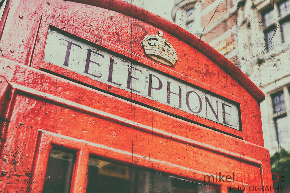 Traditional UK red telephone box. London, England, United kingdom, Europe.