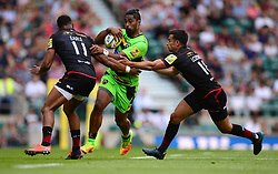 Ahsee Tuala of Northampton Saints takes on Nathan Earle of Saracens and Alex Lozowski of Saracens - Mandatory by-line: Alex James/JMP - 02/09/2017 - RUGBY - Twickenham Stadium - London, England - Saracens v Northampton Saints - Aviva Premiership
