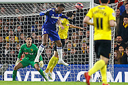 Didier Drogba of Chelsea (2nd left) heads an effort goalwards during the FA Cup match at Stamford Bridge, London<br /> Picture by David Horn/Focus Images Ltd +44 7545 970036<br /> 04/01/2015