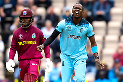 Jofra Archer of England cuts a frustrated figure - Mandatory by-line: Robbie Stephenson/JMP - 14/06/2019 - FOOTBALL - Hampshire Bowl - Southampton, England - England v West Indies - ICC Cricket World Cup 2019 group