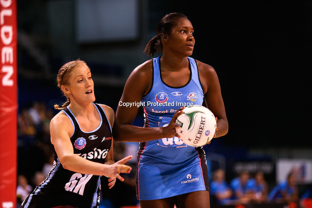 Jhaniele Fowler of Southern Steel & Zoe Walker during the ANZ Netball Championship, Easiyo Tactix v Southern Steel at CBS Arena, Christchurch, New Zealand. Saturday 30th March 2013. Photo: Martin Hunter/ Photosport.co.nz
