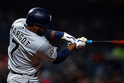 SAN FRANCISCO, CA - APRIL 08: Manuel Margot #7 of the San Diego Padres at bat against the San Francisco Giants during the fifth inning at Oracle Park on April 8, 2019 in San Francisco, California. The San Diego Padres defeated the San Francisco Giants 6-5. (Photo by Jason O. Watson/Getty Images) *** Local Caption *** Manuel Margot
