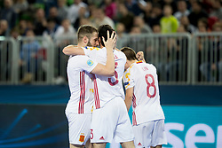 Players of Spain celebrate goal during futsal match between Portugal and Spain in Final match of UEFA Futsal EURO 2018, on February 10, 2018 in Arena Stozice, Ljubljana, Slovenia. Photo by Urban Urbanc / Sportida