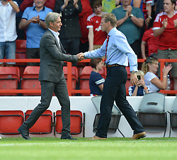 BlackPool's Manger Jose Riga shakes Nottingham Forest's Manager Stuart Pearce hand after the game. - Photo mandatory by-line: Alex James/JMP - Mobile: 07966 386802 09/08/2014 - SPORT - FOOTBALL - Nottingham - City Ground - Nottingham Forest v Blackpool - Sky Bet Championship - First game of the season