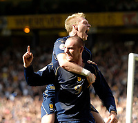 Photo: Jed Wee/Sportsbeat Images.<br /> Scotland v Lithuania. UEFA European Championships Qualifying. 08/09/2007.<br /> <br /> Scotland's Kris Boyd (9) celebrates after opening the scoring as strike partner Garry O'Connor joins him.