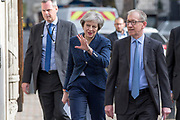 UNITED KINGDOM, London: 3 May 2018 British Prime Minister Theresa May and her husband Philip May arrive at the polling station of the Methodist Central Hall in Westminster this morning before casting their vote for the local elections in 150 local authorities. Rick Findler / Story Picture Agency