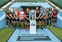 Football - 2019 / 2020 Gallagher Premiership Rugby - New Season Launch Media Photocall<br /> <br /> (From l to r), Northampton Saints' Tom Wood, Wasps' Dan Robson, Sale Sharks' Chris Ashton, Harlequins' Mike Brown, Gloucester Rugby's Danny Cipriani, Saracens' Alex Goode, Exeter Chiefs' Don Armand, Bath Rugby's Rhys Priestland, Leicester Tigers' Tom Youngs, Worcester Warriors' Francois Hougaard, London Irish' Blair Cowan, Bristol Rugby's Nathan Hughes, at Twickenham.<br /> <br /> COLORSPORT/ASHLEY WESTERN