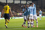 Manchester City players celebrate their goal scored by Raheem Sterling (7) of Manchester City (1-3) during the EFL Cup match between Oxford United and Manchester City at the Kassam Stadium, Oxford, England on 18 December 2019.