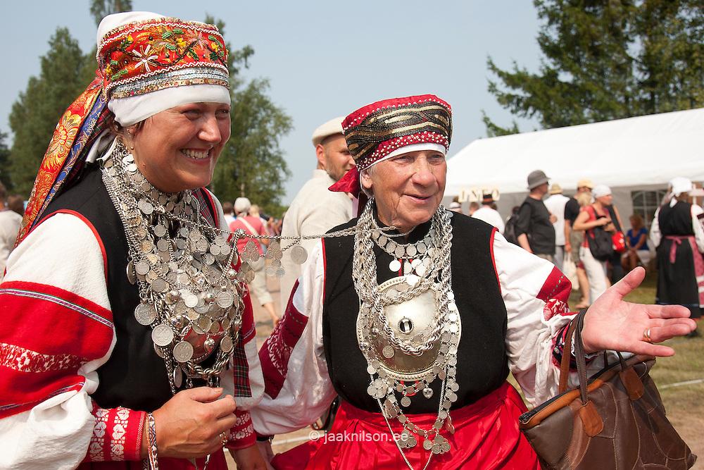 Seto Women in National Costume with Silver Accessories, Jewellery. Travel Estonia. Folk Festival, Setomaa, Estonia, Europe.