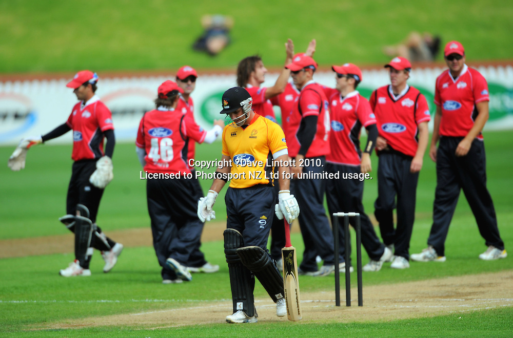 Wellington's Luke Woodcock walks off after his dismissal. One Day cricket - Wellington Firebirds v Canterbury Wizards at Allied Nationwide Finance Basin Reserve, Wellington on Thursday, 27 January 2011. Photo: Dave Lintott / photosport.co.nz