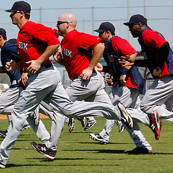 February 23, 2011; Fort Myers, FL, USA; Boston Red Sox players (from left to right) Jacoby Ellsbury (2) Drew Sutton (70), Kevin Youkilis (20), Adrian Gonzalez (28) and David Ortiz (34) run sprints at the end of a spring training practice at the Player Development Complex.  Mandatory Credit: Derick E. Hingle