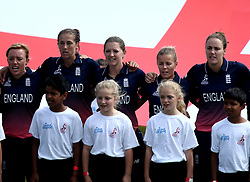 England Women line up for the national anthems - Mandatory by-line: Robbie Stephenson/JMP - 09/07/2017 - CRICKET - Bristol County Ground - Bristol, United Kingdom - England v Australia - ICC Women's World Cup match 19