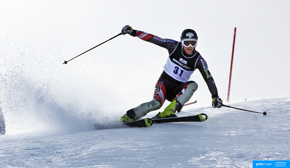 Will Brandenburg, USA, in action during the Men's Slalom event during the Winter Games at Cardrona, Wanaka, New Zealand, 24th August 2011. Photo Tim Clayton...