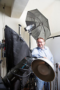 Fina art photographer Patrice Delmotte in his studio.